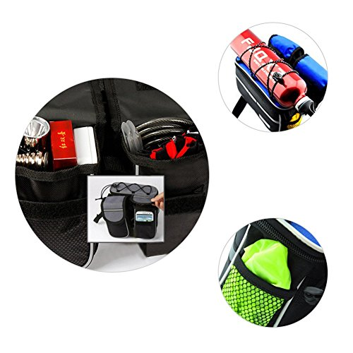 4 In 1 Multifunktions-Fahrradtasche Lenkertasche Rahmentasche Für Fahrrad Mit Reflektierenden Streifen Und Regen-Abdeckung Schwarz