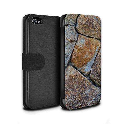 Stuff4 Coque/Etui/Housse Cuir PU Case/Cover pour Apple iPhone 4/4S / Cailloux des Plages Design / Pierre/Rock Collection Moyen Mur de Pierre