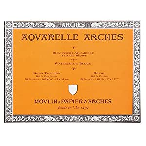 ARCHES 26 x 36 cm 300 gsm Rough Grain Glued on 4 Sides Block Watercolour Paper - Natural White (Pack of 20 Sheets)