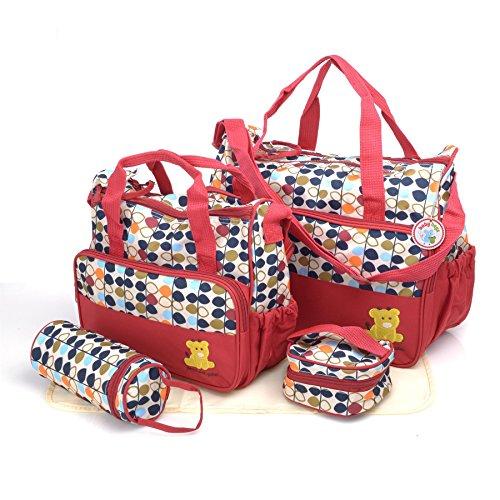 Babyhugs - Set de bolso cambiador de pañales con organizador de bolsas especial, 6 piezas. rojo Red...