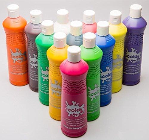 12-x-600ml-scola-artmix-ready-mix-assorted-colour-poster-paint-am600-12a