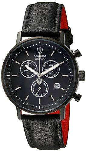 DETOMASO Milano Men's Quartz Watch with Black Dial Analogue Display and Black Leather Bracelet Dt1052-J