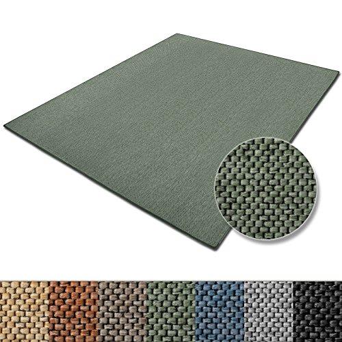 casa pura Teppich Sabang | viele Farben und Größen | Flachgewebe, Sisaloptik | Qualitätsprodukt aus Deutschland | GUT Siegel | für Wohnzimmer, Kinderzimmer, Flur etc. (grün, 140x200cm)