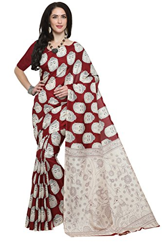 EthnicJunction Buddha Face Printed Kalamkari Saree With Unstitched Blouse Piece(EJ1168-7010, Maroon Buddha...