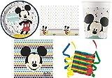 JT-Lizenzen Mickey Mouse Premium 40-teiliges Kindergeburtstag Party Deko Set Motto Fete Feier 8 Teller, 8 Becher, 20 Servietten, Tischdecke, 3 Rollen Luftschlangen