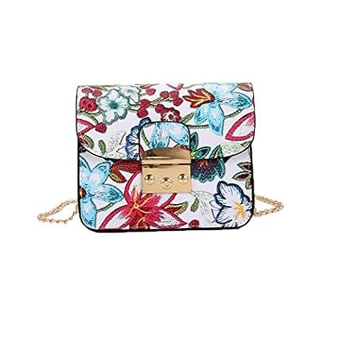 ESAILQ Sac de broderie ethnique Vintage Fresh Canvas Shoulder Messenger Bags Femmes Small Phone Purse (Blanc)