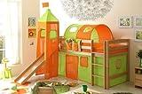 Hochbett mit Rutsche und Turm Spielbett Toby Buche massiv Natur teilbar mit Farbauswahl, Vorhangstoff:Grün Orange