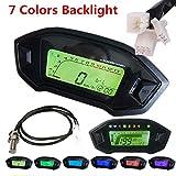 Jinxuny Universal de la Motocicleta LCD Digital velocímetro GPS tacómetro cuentakilómetros medidor de Velocidad con 7 Colores de luz de Fondo