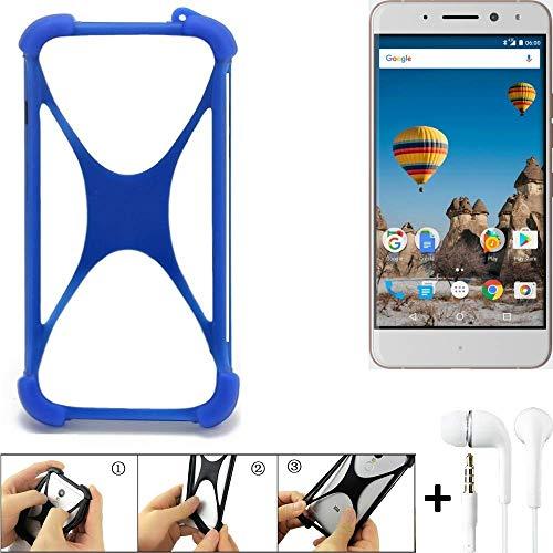 K-S-Trade Bumper für General Mobile GM 5 Plus Schutzhülle Handyhülle Silikon Schutz Hülle Cover Case Silikoncase Silikonbumper TPU Softcase Smartphone, Blau (1x), Headphones
