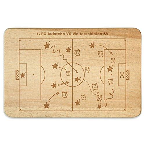 KIXY Frühstücksbrettchen Buchenholz Geschenk Gravur - Fußball Taktik Plan (Fußball-kumpel)