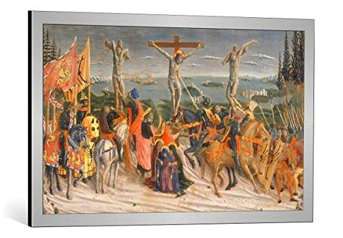 Kunst für Alle Cuadro con Marco: Giovanni Boccati G Boccati Crucifixion of Christ - Impresión artística Decorativa con Marco, 90x55 cm, Plata cepillada