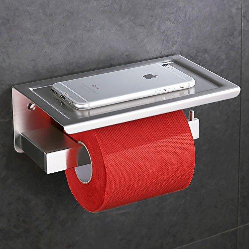 Chrom Wc Papier Halter (Desfau SS304 Edelstahl 2in1 Toilettenpapierhalter mit Ablage WC Wandhalter Rollenhalter Papierhalter Accessories WC Papier Halter Klopapierhalter in matt Handyhalter)
