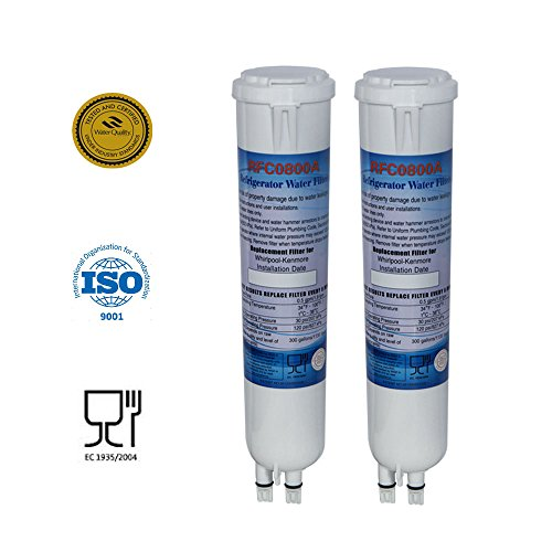 Pur-push-button (2 Pack Whirlpool 4396841 PUR Push Button SidebySide Refrigerator Water Filter RFC0800A)