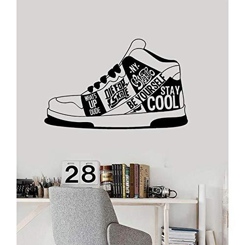 YANGSHUANG Scarpe da ginnastica Adesivo da parete Vinile Decalcomanie Stile urbano Citazione Teen Room Stickers Rimovibile Murale Moderno ed elegante Home Decor 89x56cm