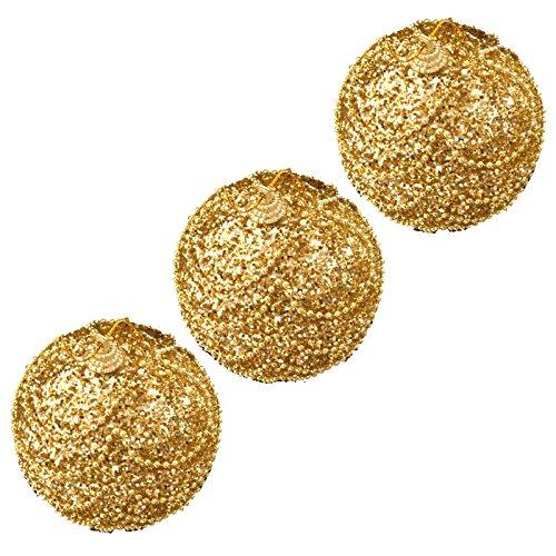 Noël 3 Décorations sapin Boules paillettes dorées 8 cm