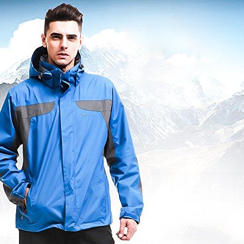 Tri-polar giubbotto uomo,Outdoor 3 in 1 Sportswear giacche termiche montagna traspirante impermeabile giacca antivento giubbini sci uomo giacca snowboard, blu XL