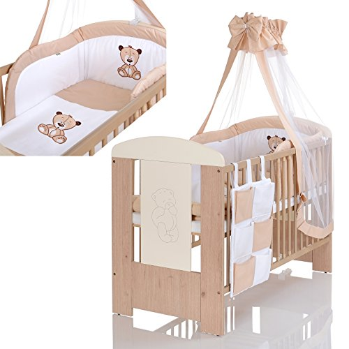 Lit bébé Our 120x60 gravée avec l'application - matelas - et 9 pièces ensemble de linge complet