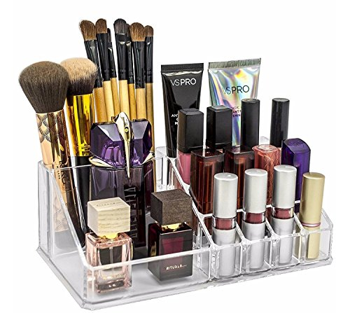 Shag Multi Grid Acrylic Makeup Organiser Transparent Plastic Makeup Cosmetic Storage Box Lipstick Nail Paint/Polish Holder Display Stand Organizer