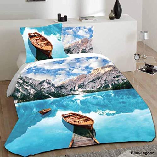 Blue Lagoon Bettwäsche (D&H CLOTHING UK Bettwäsche-Set, Bettbezug mit Kissenbezug, für Einzel-, Doppel- und King-Size-Betten, 100% Baumwolle, Blue Lagoon, King Size)