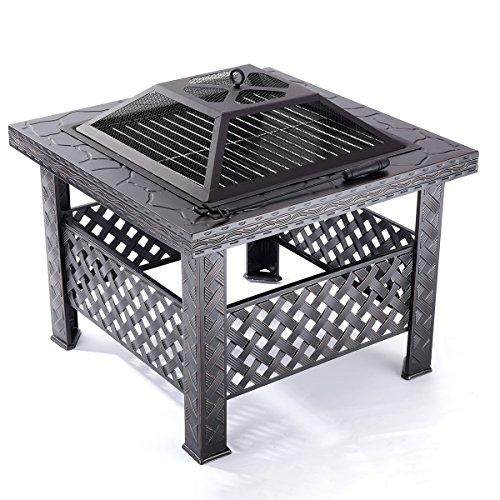 Quadratisch Feuerstellen 26'Camping Feuerstelle Draussen Patio Garten Tischheizung Herd BBQ mit einem Kit, einschließlich Grill Rost, Abdeckung von Qisan