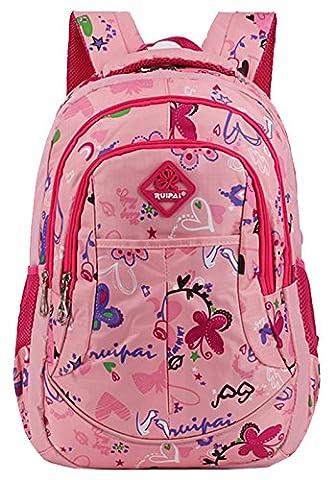 HopeEye College Style Frauen und Mädchen Rosa Nylon Schulrucksäcke Rucksack