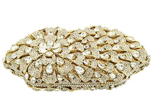 daf99f4ef4 ... Borsa Donna Pochette Sera Borsetta Portafoglio Partito Cerimonia Sposa  Spalla Frizioni Eleganti Fiore Oro Gold ...