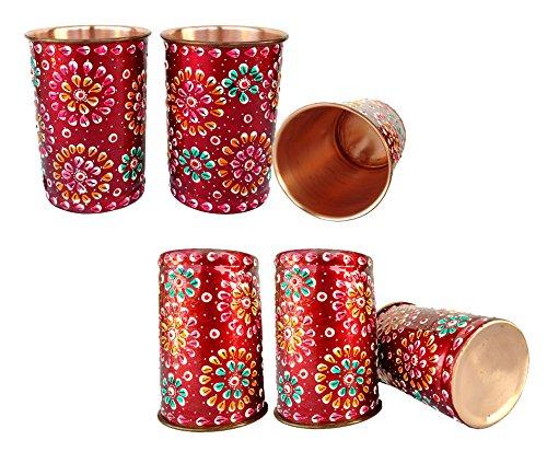 Rastogi bricolage en cuivre pur gobelets Verre peinte à la main Art travail extérieur côté Rouge (6)