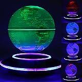 KING DO WAY Magnetschwebe Globus, (Englisch) Landkarte – Schwimmende Globe(Erde),3 Modi Farbe Lampe&Stimmunglampe,Geografie Stunde Requisit,1.5W