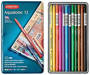 Derwent Aquatone Tin Solid Watersoluble Sticks (Set of 12)