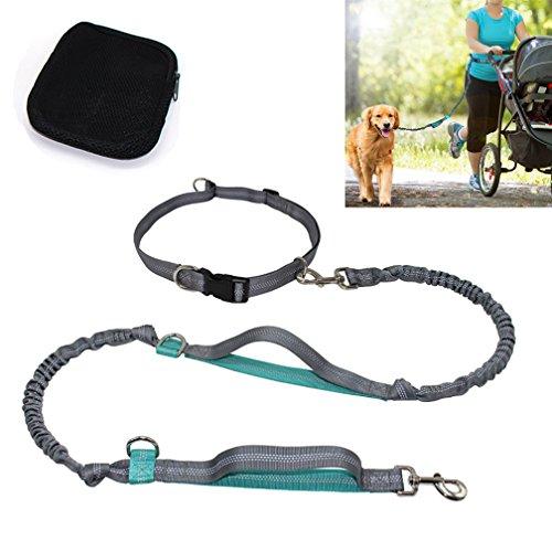 Kinderwagen Joggen Hund (KIKIGOAL Verlängernd Freihändige Hundeleine für Spazieren mit Hundefreund | Elastische Joggingleine 155 bis 190 cm geeignet für Hunde mit einem Gewicht unter 67 kg | laufen spazieren mit Hunde)