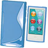 iGadgitz Dual Tone Blue Durable Crystal Gel Skin (TPU) Case Cover for Apple iPod Nano 7th Generation 7G 16GB + Screen Protector