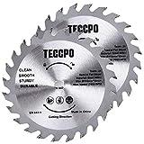 2 pz lame circolari professionali in carburo di tungsteno 115mm x 10mm, TECCPO TCT 24 lame per seghe per legno, compatibili con tutte le marche di troncatrici e seghe circolari - TACB28A