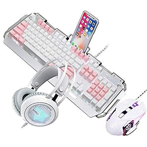Unbekannt Mechanische Gaming-Maus und Headset, Blauer Schalter, Blaue LED, Metall, 3200 DPI, mit bunten Atemlicht-Gaming-Headset (Gaming-headset Und Maus)