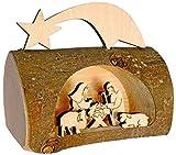 Kaltner Präsente - Presepe in Legno con Gesù, Maria e Bambino in Un Tronco d'albero con Corteccia, Idea Regalo
