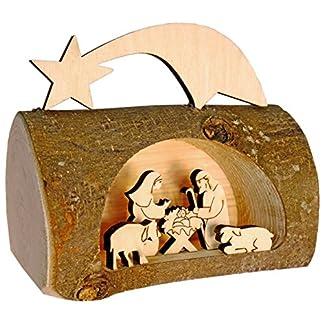Kaltner Präsente–Regalo Idea–Belén navideño de Madera con Jesús, María y el Niño en un árbol Tronco con Corteza