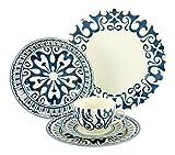 Creatable 19714 Serie Henna, Kombiservice, Porzellan, blau, 40 x 32,5 x 32,5 cm, 30 Einheiten