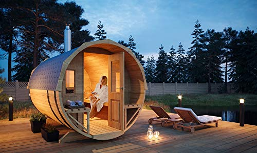 FinnTherm Fass-Sauna Sam, Premium-Thermoholz, inkl. Elektro-Ofen (6 kW)