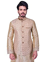 Manyavar Mens Jacket (JAC087-303-XL_Beige)