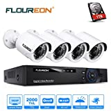 FLOUREON 8CH CCTV Cameras System with HDD 960P 2000TVL 1.3MP Outdoor Camera 1080N ONVIF AHD DVR Support TVI/CVI/AHD/Analog/ONVIF IP Camera/P2P Remote Monitoring/Motion Detection/Night Vision (1TB HDD)