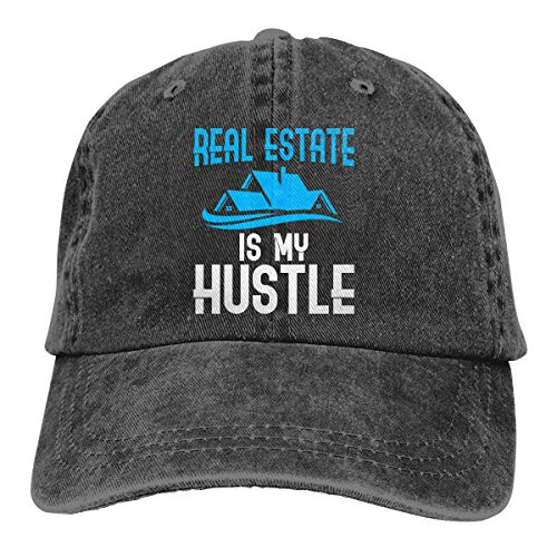 Naiyin Real Estate is My Hustle Funny Realtor Gift Unisex Washed Twill Cotton Baseball Cap Vintage Adjustable Hat Pro Style Cotton Twill Cap