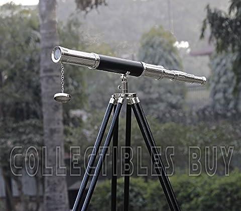 Vintage en cuir noir marron Télescope Trépied en laiton chromé
