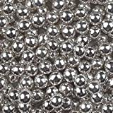 100g 6mm Edible Silver Balls - Cup Cake Sprinkles Decorations