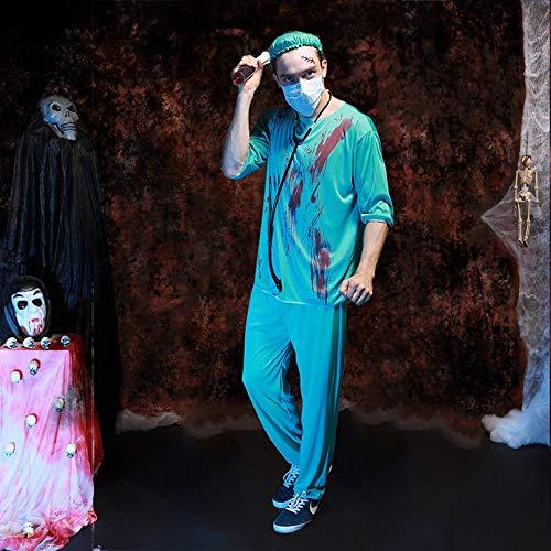 GHLLSAL Halloween Kostüm Party Kleidung mit Blood Terror männlichen Arzt Krankenschwester Cosplay Horrible Scary Kleidung