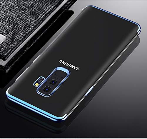 Shinyzone Samsung Galaxy S9 Plus Zurück TPU Hülle,Kristall Transparentes Silikon + Überzug Blau Bumper Stilvoll Design [Kratzfest] [Stoßfest] Schutzhülle für Samsung Galaxy S9 Plus -