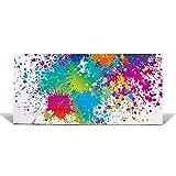 BANJADO Design Magnettafel weiß, Wandtafel magnetisch 37cm x 78cm, Metall Pinnwand, Memoboard mit Motiv Farbspritzer