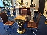 Medusa Esstisch Tische mit Styl Glastisch Medusa Wohntisch Mäander Barock Säulen Wohntische mit Styl 10/21 K110+50 , 100x100cm Glasplatte 8-Kanten