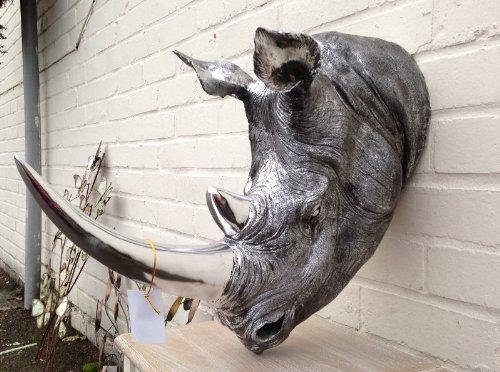 Rhino Head - The Grand Daddy! - Silver Finish (Roost 8325900)