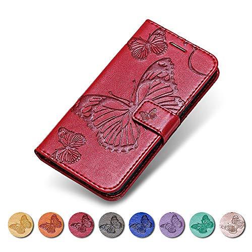 KKEIKO Sony Xperia Z3 Compact Hülle, Sony Xperia Z3 Compact Leder Handyhülle Schutzhülle, Schmetterling Muster Stoßsichere Lederhülle Brieftasche Flip Case für Sony Xperia Z3 Compact - Rot