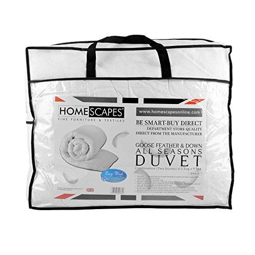 Homescapes Luxus - Vier Jahreszeiten - Bettdecke, 200 cm x 200 cm, Zwei Deckensystem - Gänsefedern und Daunen