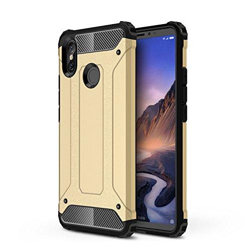 TANYO Xiaomi Mi MAX 3 Heavy-Duty Hybrid Double Armor Phone Case, Extraíble 2 en 1 a Prueba de Golpes Robusto y Durable Fashion Ultra-Thin Funda Protectora Dorado.